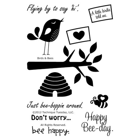 Technique Tuesday - Clear Acrylic Stamps - Birds and Bees