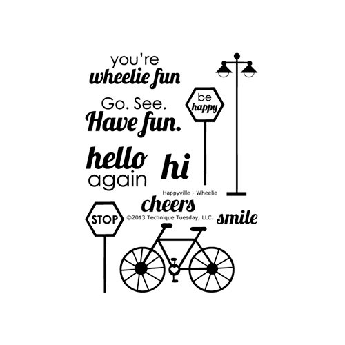 Technique Tuesday - Clear Acrylic Stamps - Happyville - Wheelie