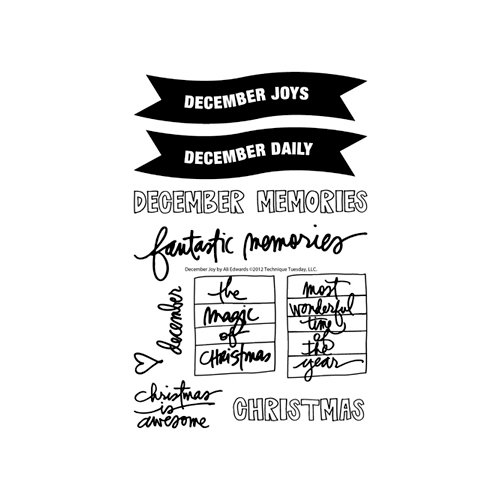 Technique Tuesday - Clear Acrylic Stamps - December Joys by Ali Edwards