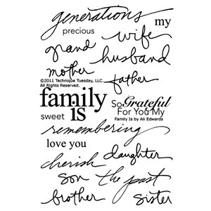 Technique Tuesday - Clear Acrylic Stamps - Family is by Ali Edwards