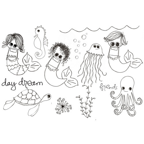 Unity Stamp - Clever Handmade Collection - Unmounted Rubber Stamp - Under the Sea
