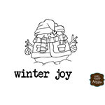 Unity Stamp - Itty Bitty Collection - Unmounted Rubber Stamp - Roly Poly Winter Joy