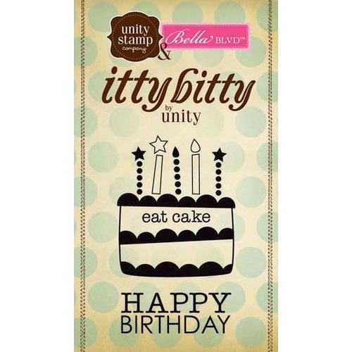 Unity Stamp - Bella Blvd Collection - Itty Bitty - Unmounted Rubber Stamp - Cake Wishes