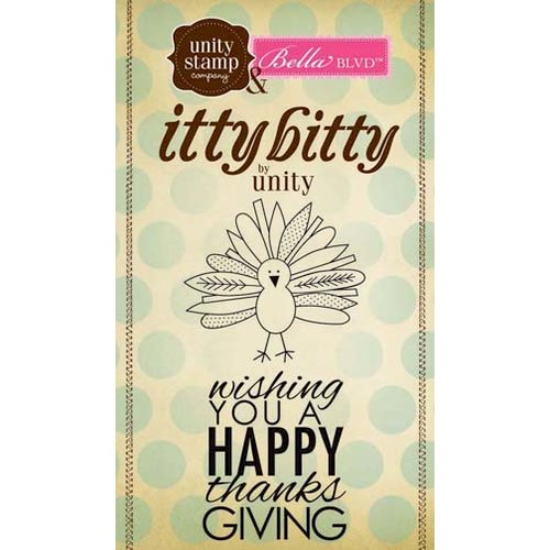 Unity Stamp - Bella Blvd Collection - Itty Bitty - Unmounted Rubber Stamp - Happy Thanksgiving