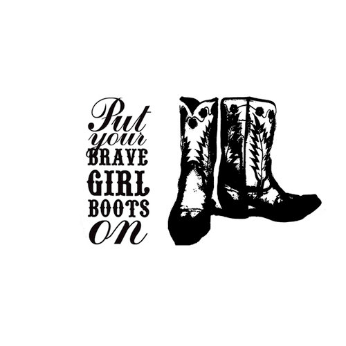 Unity Stamp - Melody Ross Collection - Itty Bitty - Unmounted Rubber Stamp - Brave Boots