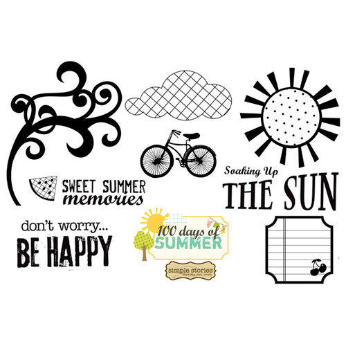 Unity Stamp - Simple Stories Collection - Unmounted Rubber Stamp - Sweet Summer Memories