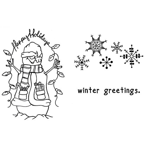 Unity Stamp - Unmounted Rubber Stamp - Winter Greetings