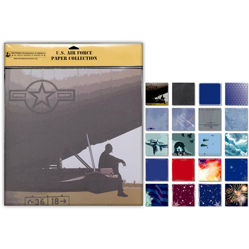 Uniformed Scrapbooks of America - 12 x 12 Paper Pack - U.S. Air Force