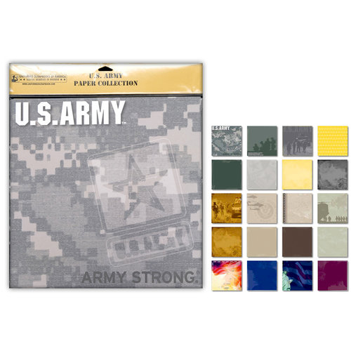 Uniformed Scrapbooks of America - 12 x 12 Paper Pack - U.S. Army
