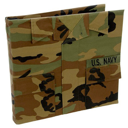 Uniformed Scrapbooks of America - 12 x 12 Postbound Album - Military Uniform Cover - Navy - Battle Dress