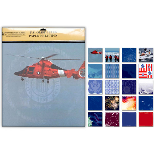 Uniformed Scrapbooks of America - 12 x 12 Paper Pack - Coast Guard