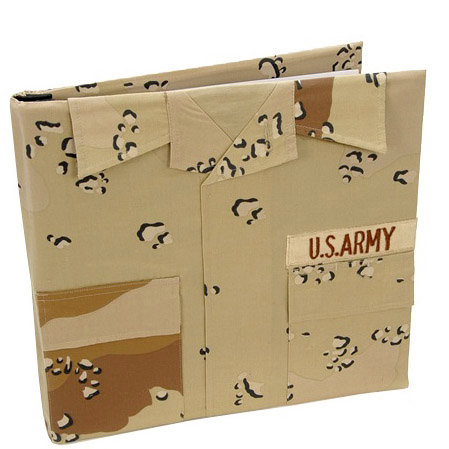 Uniformed Scrapbooks of America - 12 x 12 Postbound Album - Military Uniform Cover - Army - Desert Battle Dress