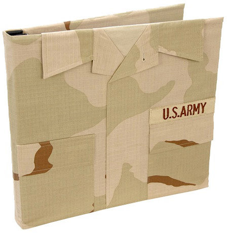 Uniformed Scrapbooks of America - 12 x 12 Postbound Album - Military Uniform Cover - Army - Desert Combat