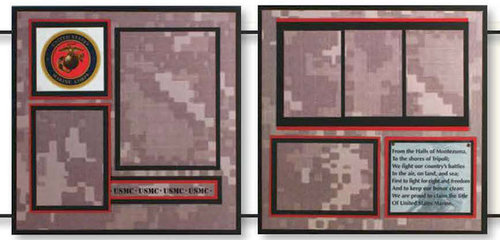 Uniformed Scrapbooks of America - 12 x 12 Page Kit - Marines