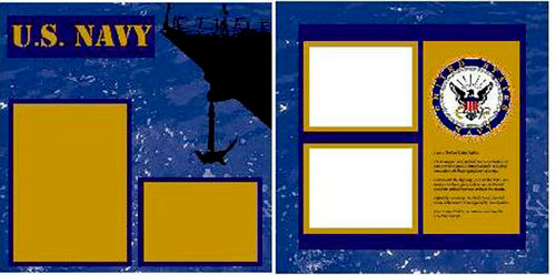 Uniformed Scrapbooks of America - 12 x 12 Page Kit - Navy