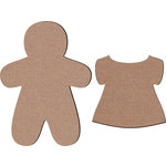 Leaky Shed Studio - Chipboard Shapes - Gingerbread Girl with Dress