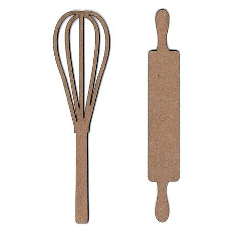 Leaky Shed Studio - Chipboard Shapes - Whisk and Rolling Pin