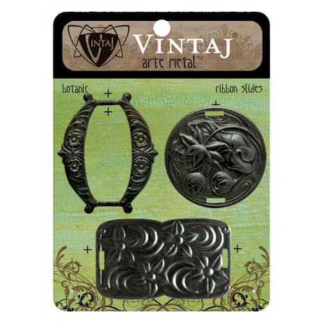 Vintaj Metal Brass Company - Arte Metal - Ribbon Slides - Botanic