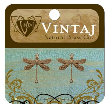 Vintaj Metal Brass Company - Metal Jewelry Charms - Dragonfly