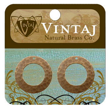 Vintaj Metal Brass Company - Metal Jewelry Charms - Hammered Ring