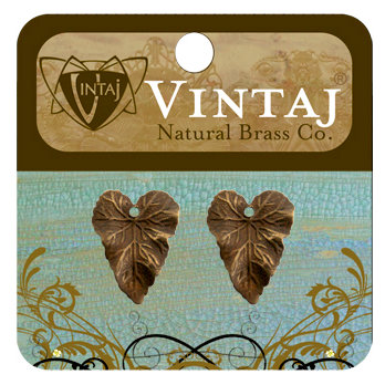 Vintaj Metal Brass Company - Metal Jewelry Charms - Woodland Leaf