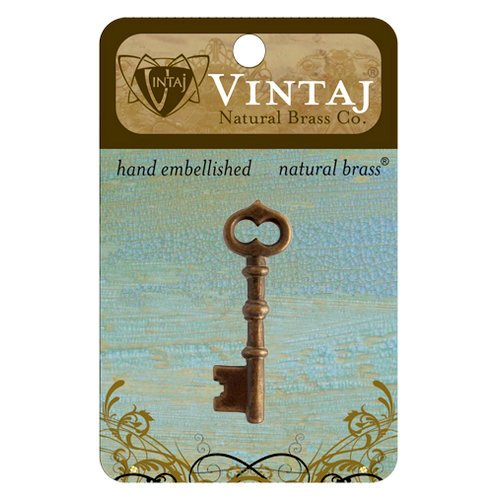 Vintaj Metal Brass Company - Metal Jewelry Charm - Skeleton Key