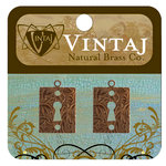 Vintaj Metal Brass Company - Metal Jewelry Charms - Embossed Keyhole