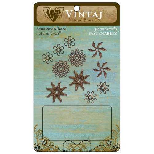 Vintaj Metal Brass Company - Metal Fastenables - Flower Stacks