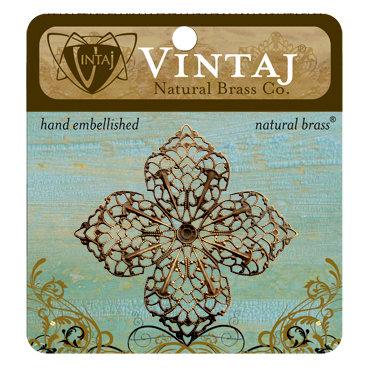 Vintaj Metal Brass Company - Metal Embellishments - Clover Petal Filigree