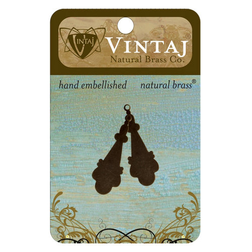 Vintaj Metal Brass Company - Sizzix - Metal Jewelry Charms - Etruscan Drop