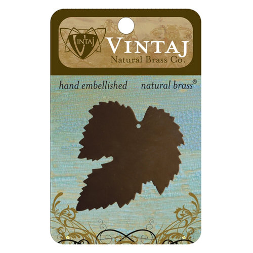 Vintaj Metal Brass Company - Sizzix - Metal Jewelry Charm - Treasured Maple