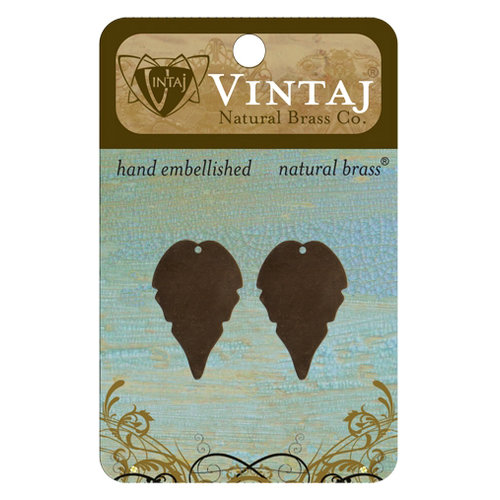 Vintaj Metal Brass Company - Sizzix - Metal Jewelry Charms - Trailing Leaf