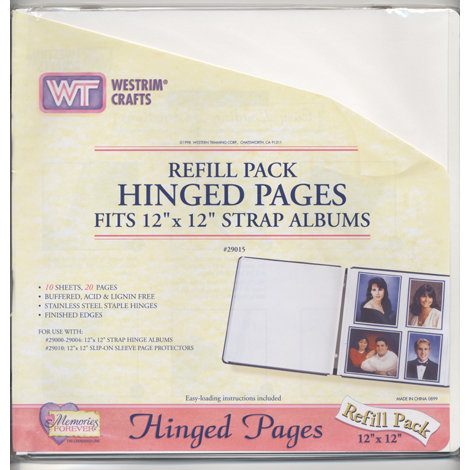 Westrim - Refill Pack - Hinged Pages - Fits 12 x 12 Strap Albums -White