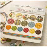 Websters Pages - Spring Market Collection - Chipboard Stickers - Buttons and Twine