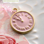 Websters Pages - Perfect Bulks - Metal Embellishments - Pink Clock Charm