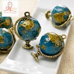 Websters Pages - Our Travels Collection - Charms - Metal Embellishments - Globe