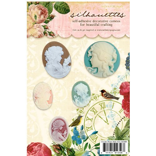 Websters Pages - Postcards from Paris Collection - Silhouettes - Self Adhesive Decorative Cameos