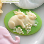 Websters Pages - New Beginnings Collection - Perfect Bulks - Resin Embellishment Pieces - Bunny Cameo