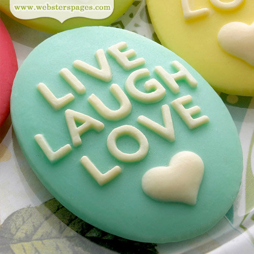 Websters Pages - Perfect Bulks - Resin Embellishment Pieces - Live Love Laugh Cameos - Blue