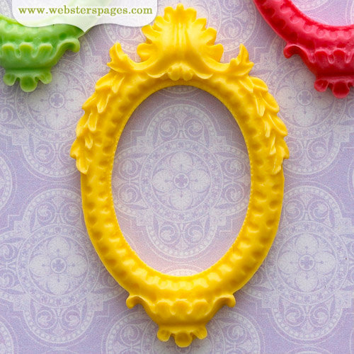 Websters Pages - Perfect Bulks - Resin Embellishment Pieces - Frame - Yellow