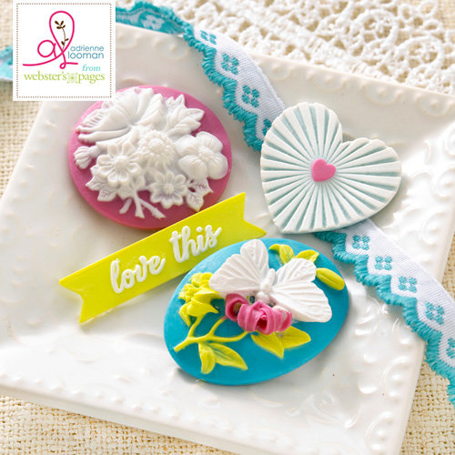 Websters Pages - Sweet Routine Collection - Perfect Accents - Resin Embellishment Pieces