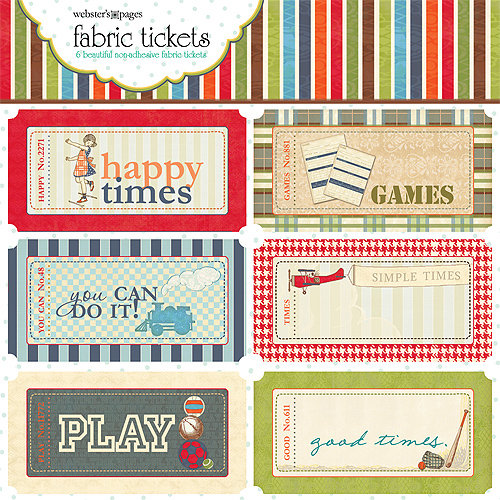 Websters Pages - Game On Collection - Fabric Tickets