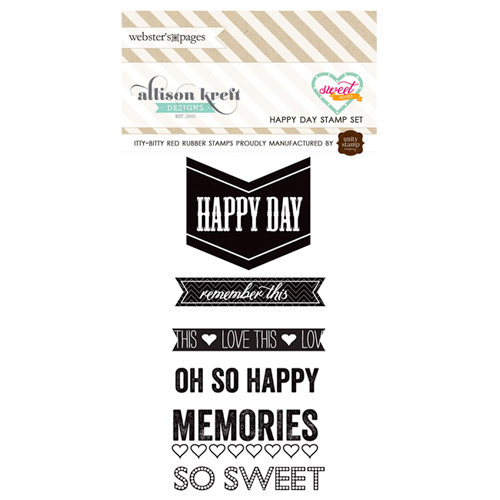Websters Pages - Sweet Notes Collection - Cling Mounted Rubber Stamp Set - Happy day