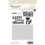 Websters Pages - Hello World Collection - Cling Mounted Rubber Stamp Set - Happy Little Moments