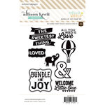 Websters Pages - Hello World Collection - Cling Mounted Rubber Stamp Set - Bundle of Joy