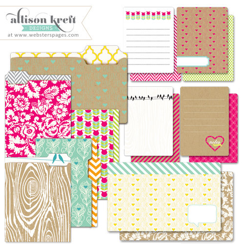 Websters Pages - Sweet Notes Collection - Mini Folders and Cards Set