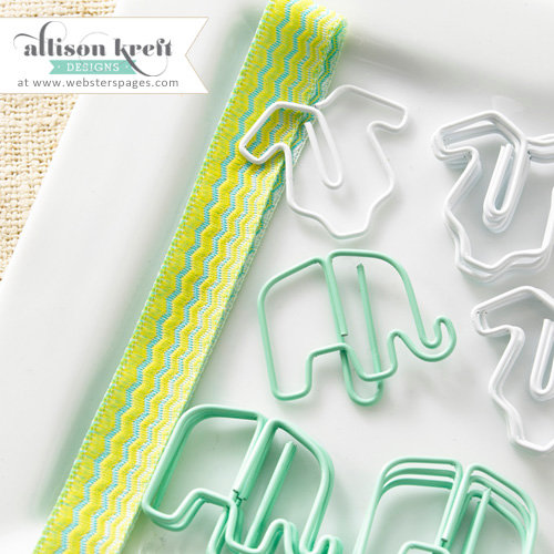 Websters Pages - Hello World Collection - Paperclips - Elephants and Onesies