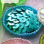 Websters Pages - New Beginnings Collection - Sequin Polka Dots - Blue