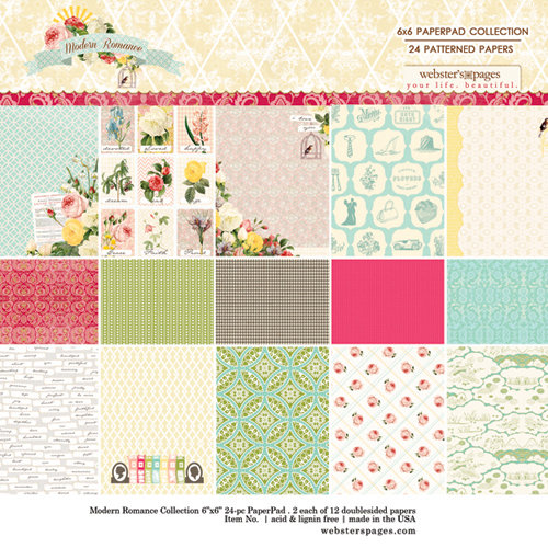 Websters Pages - Modern Romance Collection - 6 x 6 Paper Pad