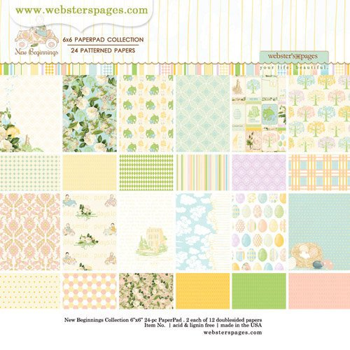 Websters Pages - New Beginnings Collection - 6 x 6 Paper Pad